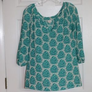 Merona print top, 3/4 sleeve